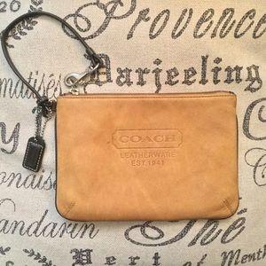 Coach tan leather wristlet